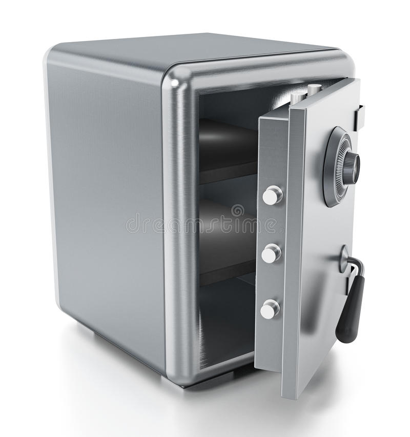 Steel safe with open door isolated on white background. 3D illustration vector illustration