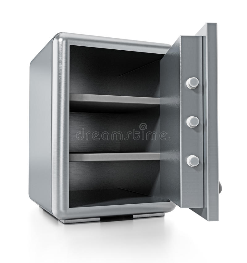 Steel safe with open door isolated on white background. 3D illustration stock illustration
