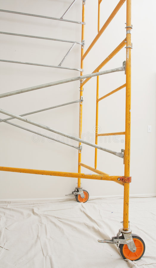 Steel scaffolding assembled indoors. A steel scaffolding assembled indoors royalty free stock photo