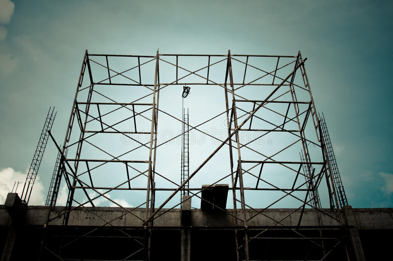 Steel scaffolding. For construction site in Thailand royalty free stock image