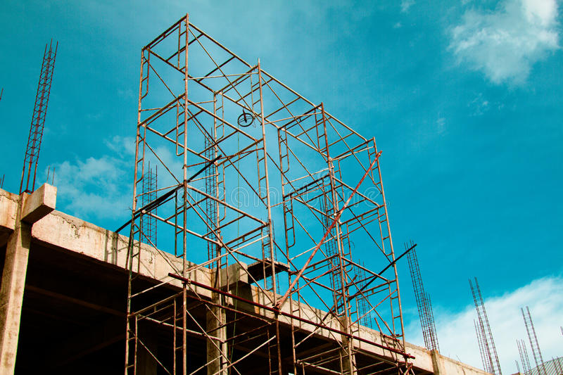 Steel scaffolding. For construction site in Thailand royalty free stock photo