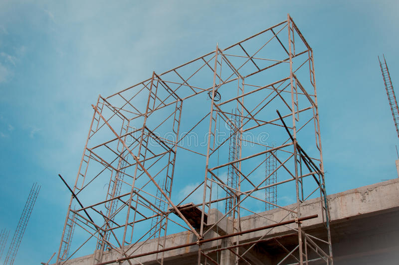Steel scaffolding. For construction site in Thailand stock photos