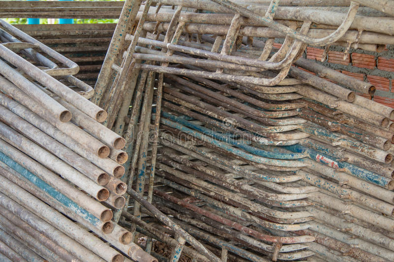 Steel scaffolding. For construction site in Thailand stock photo