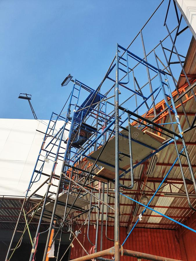 Steel scaffolding. For various construction work royalty free stock image
