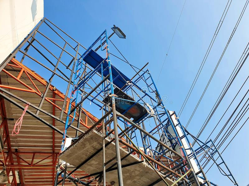 Steel scaffolding. For various construction work stock photos