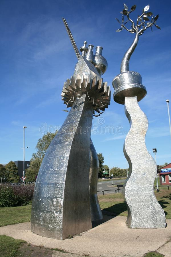 Steel sculpture recognising The Potteries. Steel and metal sculpture of elements representing the history and heritage of Stoke-on-Trent. The sculpture is made stock photography
