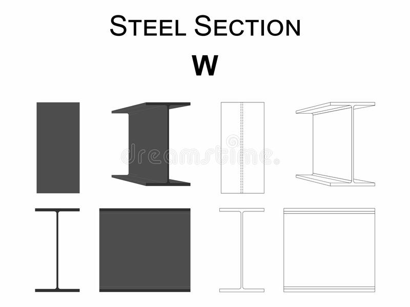Steel section W royalty free illustration