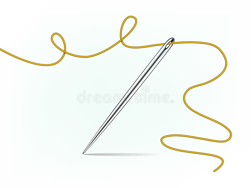 Download Steel Sewing Needle And Thread Stock Illustration - Image: 4450406