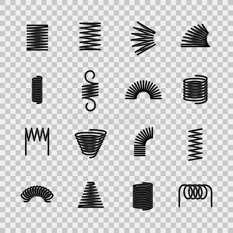 Steel spring. Spiral coil flexible steel wire springs shape. Absorbing pressure equipment line vector icons. Steel spring. Spiral coil flexible steel wire royalty free illustration