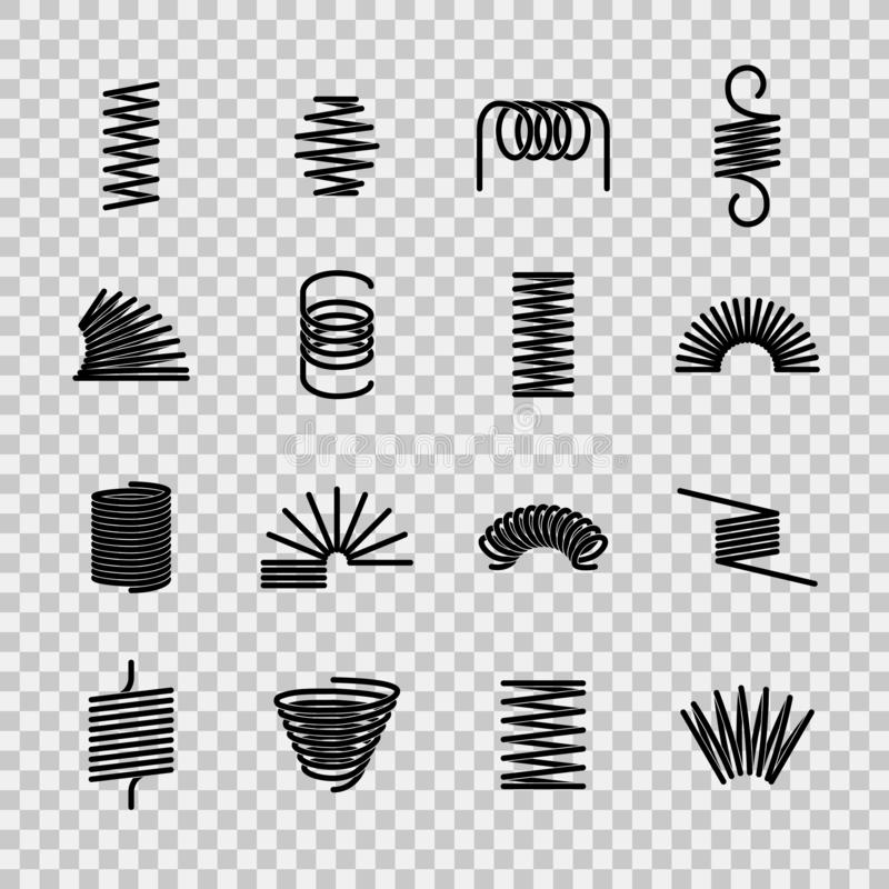 Steel spring. Spiral coil flexible steel wire springs shape. Absorbing pressure equipment line vector icons. Steel spring. Spiral coil flexible steel wire stock illustration
