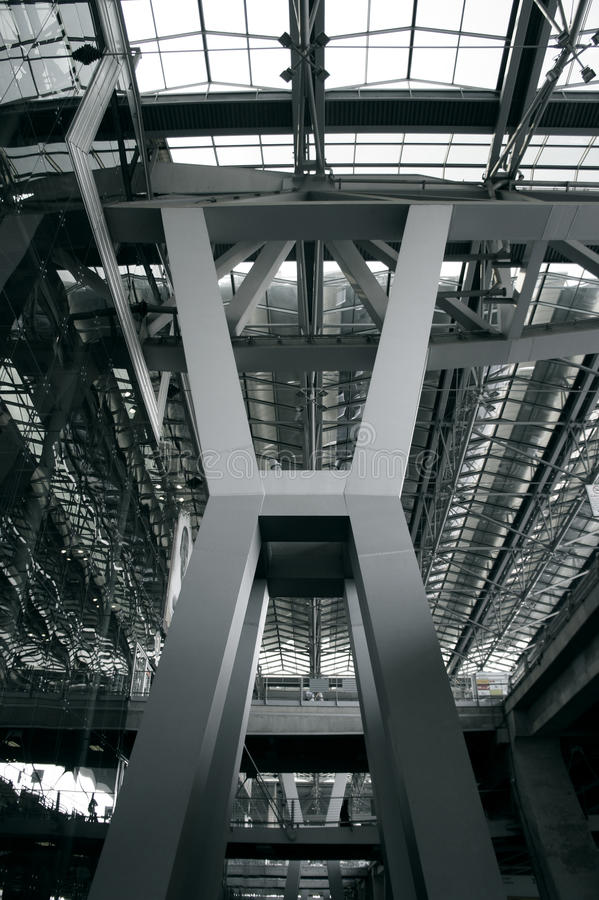 Steel structure. Support above the bridge, steel structure close-up stock photos