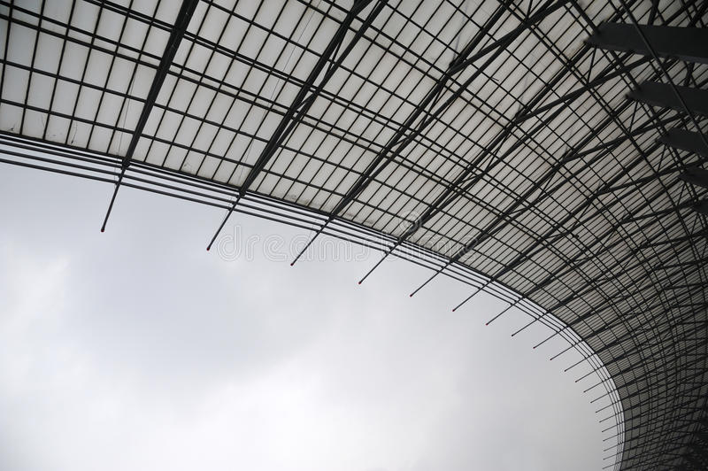 Steel structure in black and white. Ethmoid roof of glass, steel structure stock photography