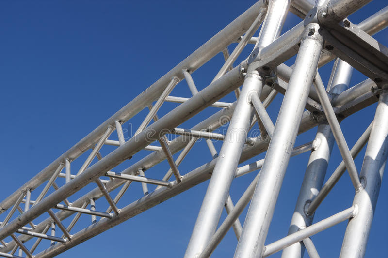 Steel structure on blue sky stock images