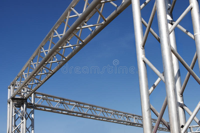 Steel structure on blue sky. Steel structure. Scaffolding with blue sky in the background stock photos