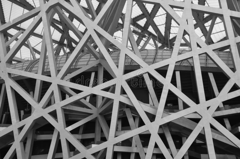 Steel structure building. Geometry pattern royalty free stock image