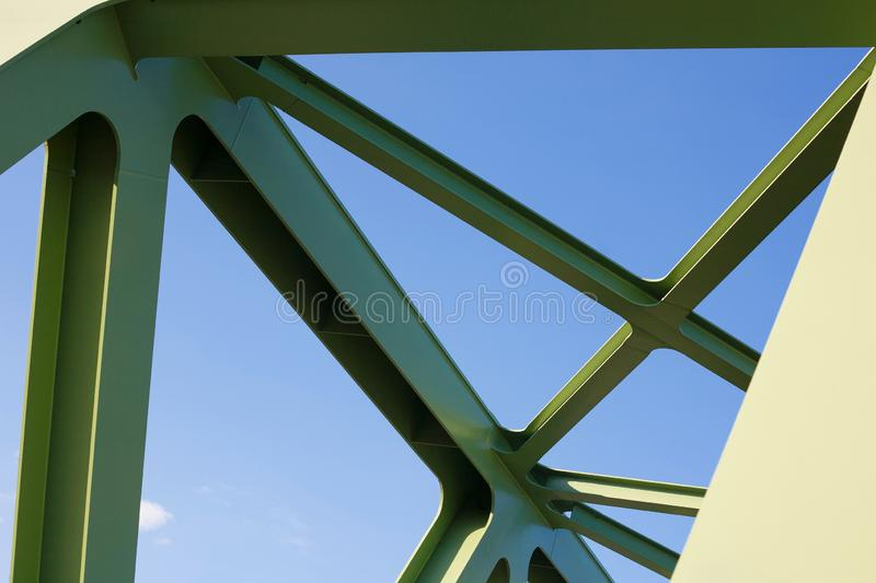 Steel structure close-up of a green painted bridge stock photography