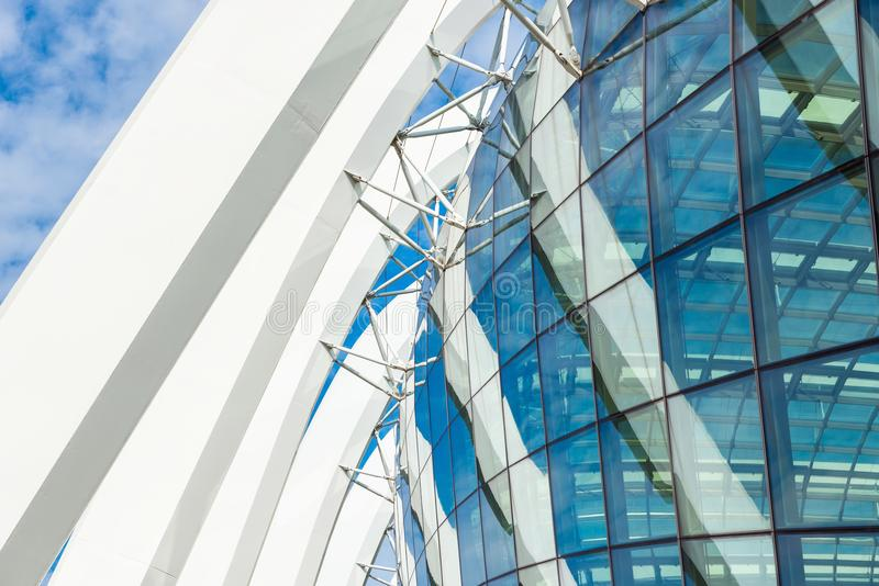 Steel structure column and modern facade of building, Modern arc stock images