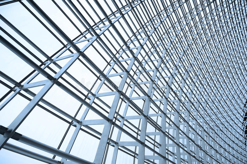 Steel structure and glass roof. Ethmoid roof of glass, steel structure stock photo
