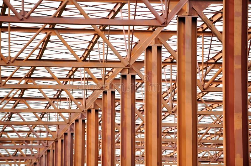 Steel structure. Industrial architecture shot with unfinished steel structure royalty free stock photos