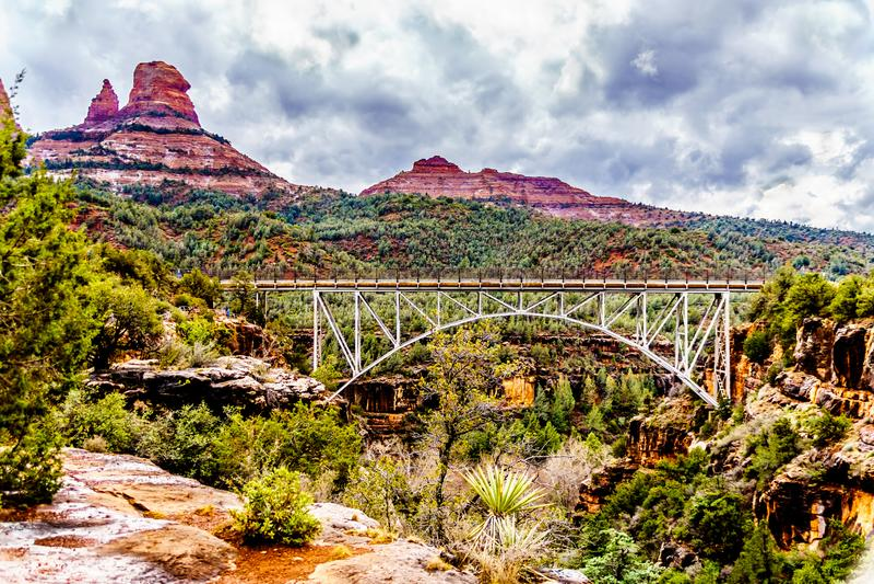 The steel structure of Midgely Bridge on Arizona SR89A between Sedona and Flagstaff over Wilson Canyon at Oak Creek Canyon. The steel structure of Midgely Bridge stock photos