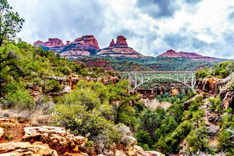 The steel structure of Midgely Bridge on Arizona SR89A between Sedona and Flagstaff over Wilson Canyon at Oak Creek Canyon stock photo