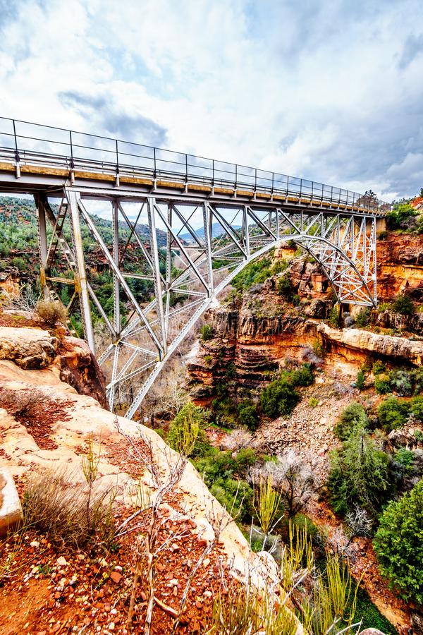 The steel structure of Midgely Bridge on Arizona SR89A between Sedona and Flagstaff over Wilson Canyon at Oak Creek Canyon royalty free stock photos