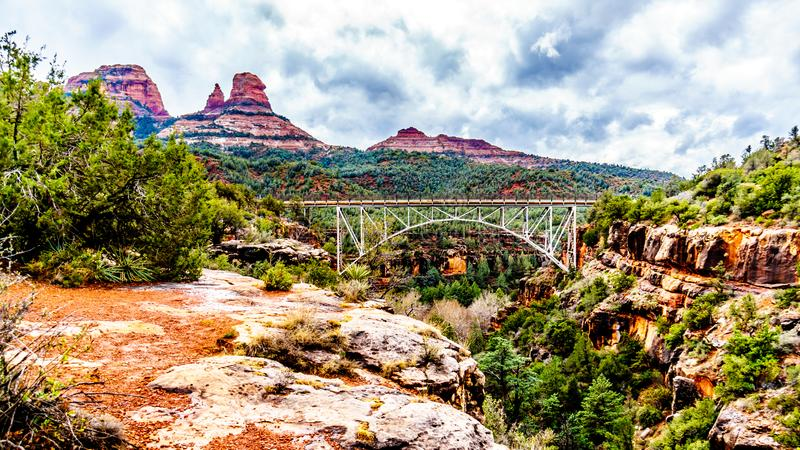 The steel structure of Midgely Bridge on Arizona SR89A between Sedona and Flagstaff over Wilson Canyon at Oak Creek Canyon stock photography
