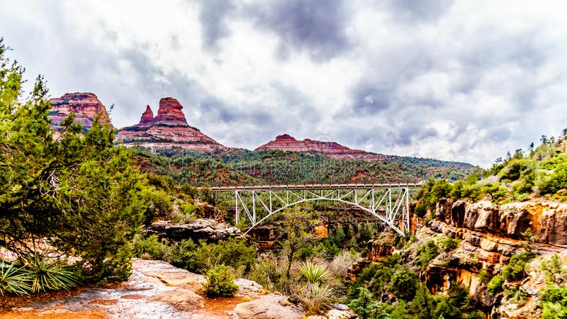 The steel structure of Midgely Bridge on Arizona SR89A between Sedona and Flagstaff over Wilson Canyon at Oak Creek Canyon stock images