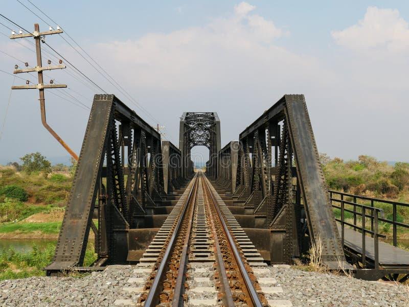 Steel structure of railway bridge, railway rail with vanishing point. Amazing perspective stock images