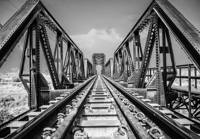 Steel structure of railway bridge, railway rail with vanishing point. Amazing perspective royalty free stock image