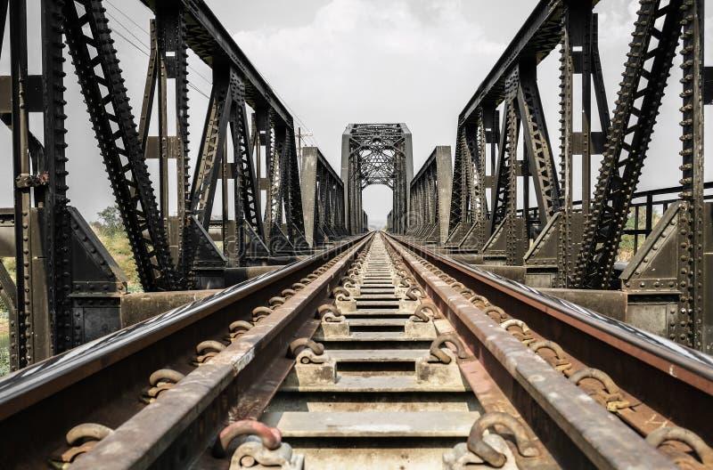 Steel structure of railway bridge, railway rail with vanishing point. Amazing perspective stock photography