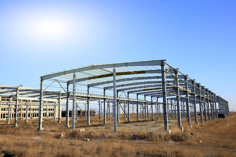 Steel structure. In construction site royalty free stock image
