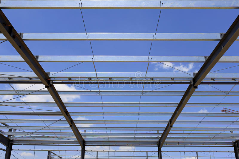 The steel structure. Steel structure, is under construction。Under the blue sky white clouds, very beautiful stock photo