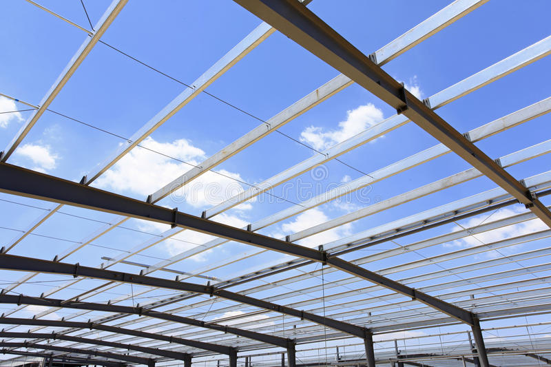 The steel structure. Steel structure, is under construction。Under the blue sky white clouds, very beautiful royalty free stock photo