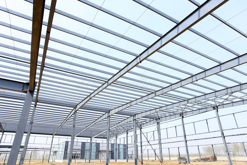The steel structure. Is under construction stock images