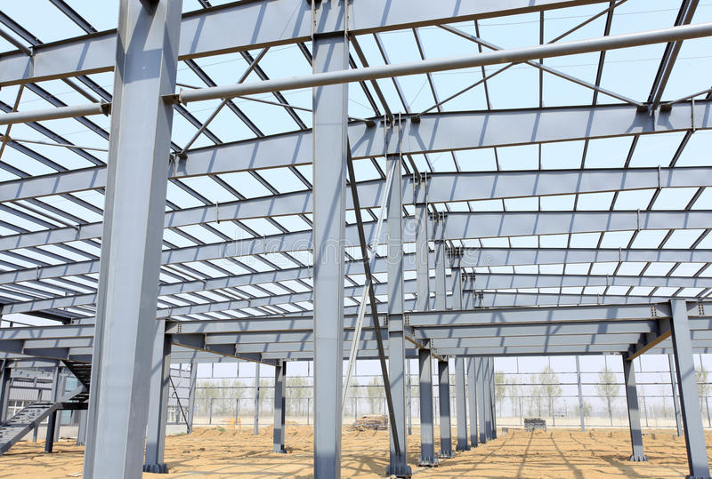The steel structure. Is under construction royalty free stock photos