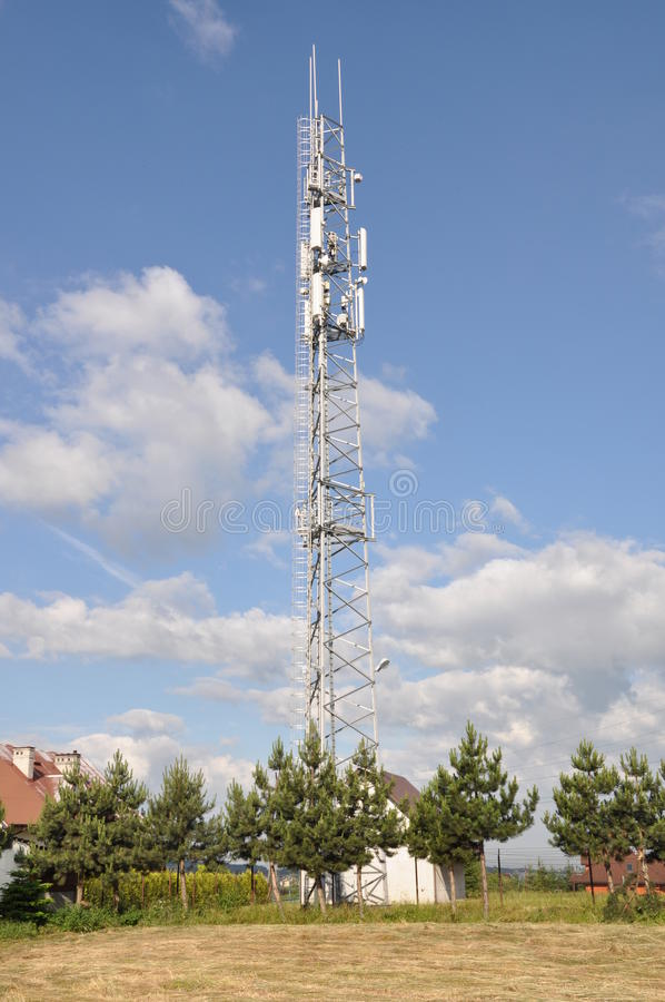 Steel telecommunication tower. With antenna system stock image
