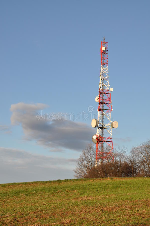 Steel telecommunication tower. With antenna system royalty free stock images