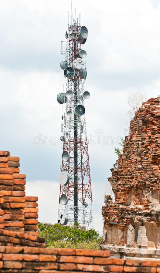 Steel telecommunication tower stock photography