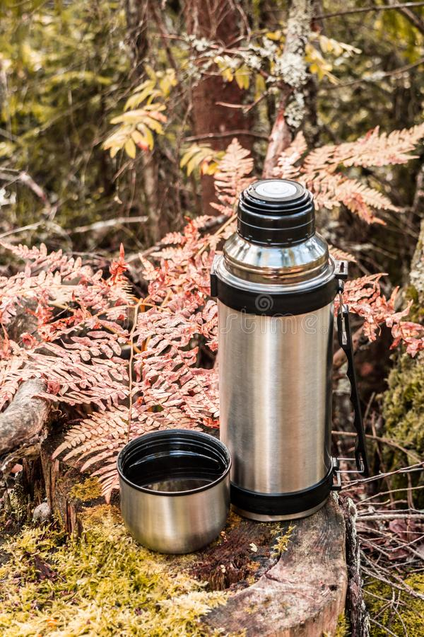 Steel thermos with a cup of hot tee standing on old stump in coniferous forest, camping abstract background. Steel thermos with a cup of hot tee standing on old royalty free stock photo