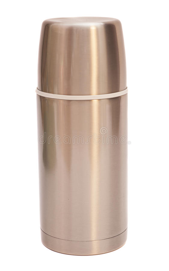 Steel thermos. Isolated on white background royalty free stock photography
