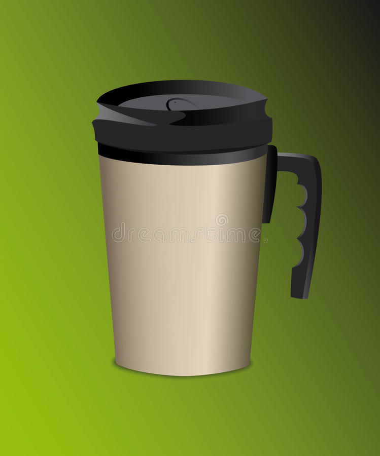 Steel thermos mug with handle for drinks royalty free stock images