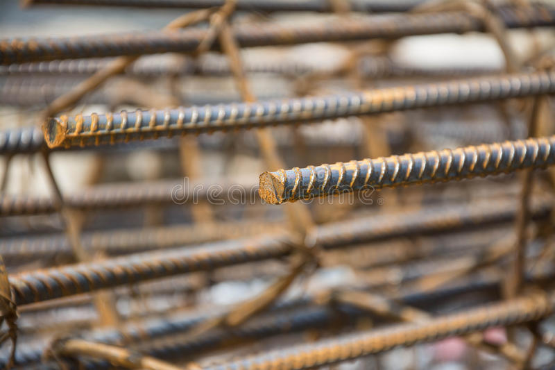 Steel tie of post at construction site royalty free stock photography
