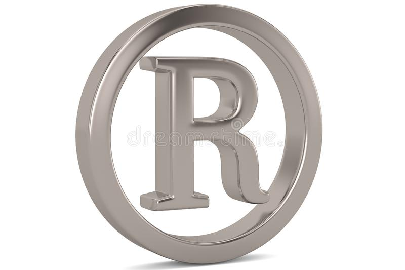 Steel trademark symbol isolated on white background 3D illustration. royalty free illustration