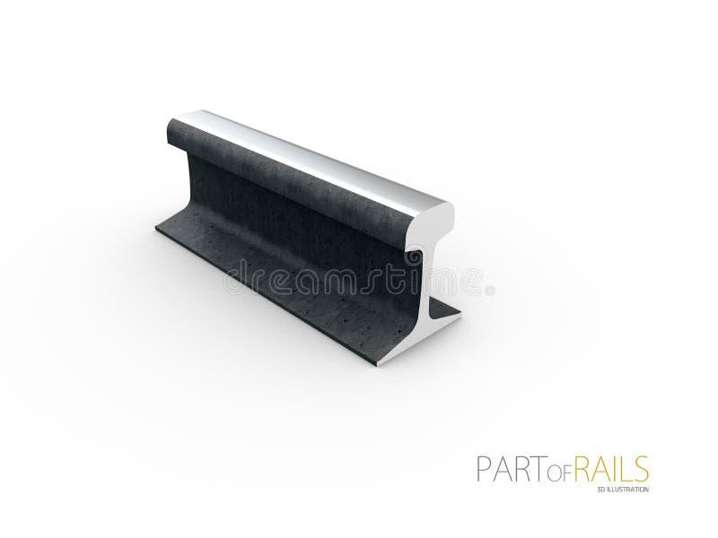 Steel train rail track profile symbol 3d Illustration.  stock illustration