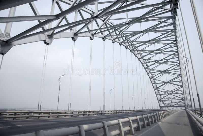 Steel truss arch bridge. A highway bridge,steel truss arch bridge stock image