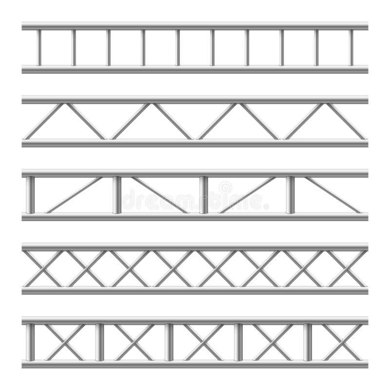 Steel truss girder seamless structure. Metal framework for billboard. Isolated vector set. Illustration of metal steel structure, frame construction industrial stock illustration