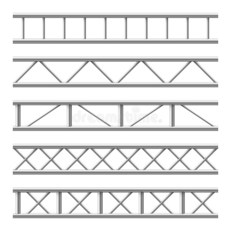 Free Steel Truss Girder Seamless Structure. Metal Framework For Billboard. Isolated Vector Set Stock Photo - 124717480
