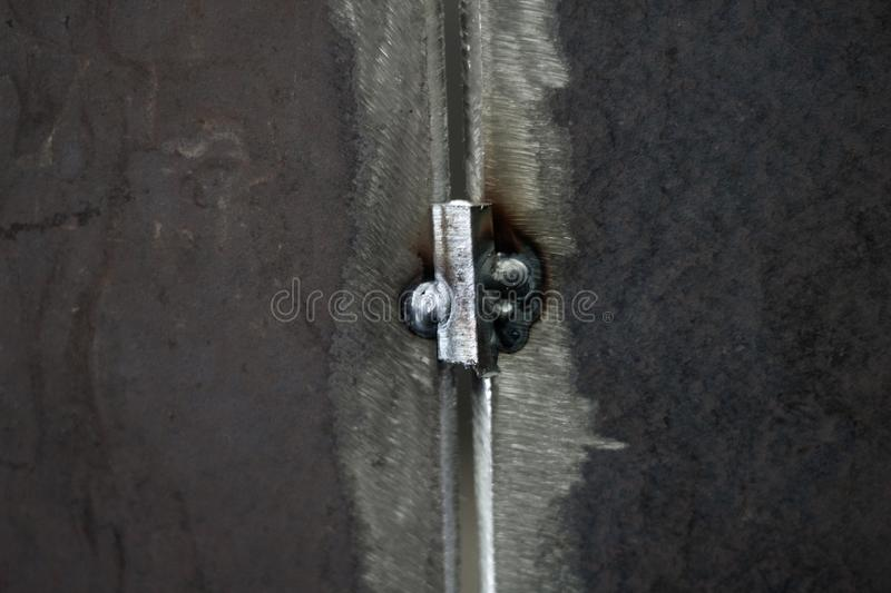 Steel weld joined by welding process for pressure vessel fabrication stock image