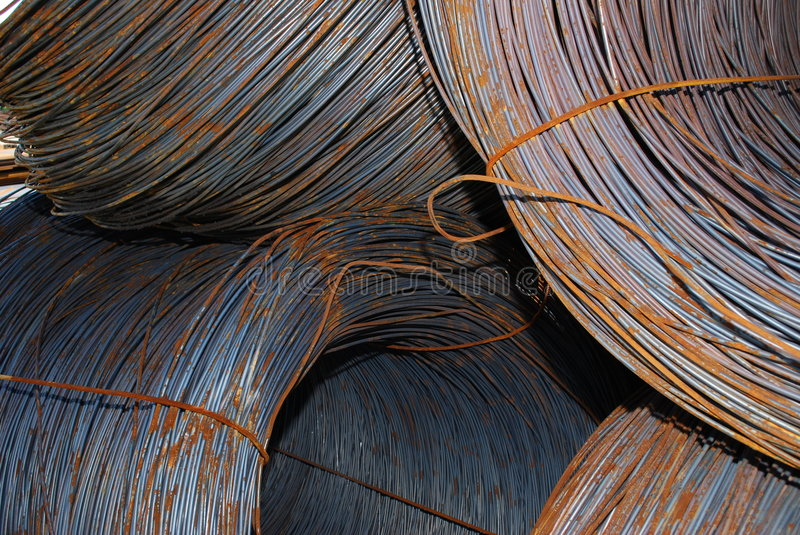 Steel wire. For mechanical engineering stock images